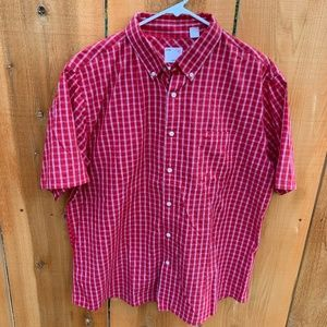 Men's Dockers Red Plaid Short Sleeve Shirt Size XL